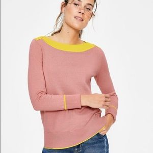 {Boden} Louisa Jumper Chalky Pink Yellow Sweater